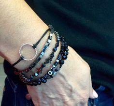 Glam Rock Black 5 cords Wrap Bracelet with by CallmeHappySpirit