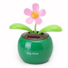 ffba1195a252b5 Flip Flap Solar Powered Flower Flowerpot Auto Car Dashboard Swing Dancing  Toy