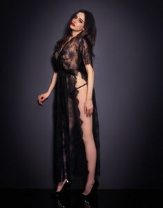 806c4998a3 2018 Hot Sexy Black Sheer Lace Robe with Thong New Arrival Sleepwear  Lingerie Dress Sex Set Drop Shipping Online Sales