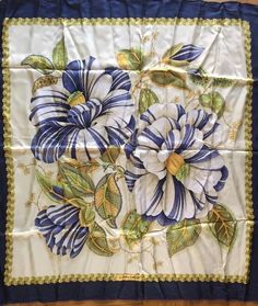 Salvatore Ferragamo Silk Scarf Blue Flowers Green & Yellow #SalvatoreFerragamo #Scarf