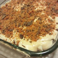 Butterfinger Dessert - Weight Watchers recipe.  Only weird thing about the recipe is the use of cooking spray.  It's a no bake dessert, so why would that be needed?