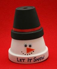clay pot christmas gift, never met a snowman I didn't fall in love with!