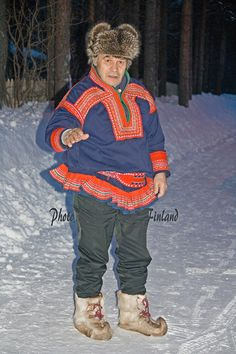 The Sami man on the road Inari  Sami Independence Day 6.2.2010 Lappi-Lapland Photo Aili Alaiso