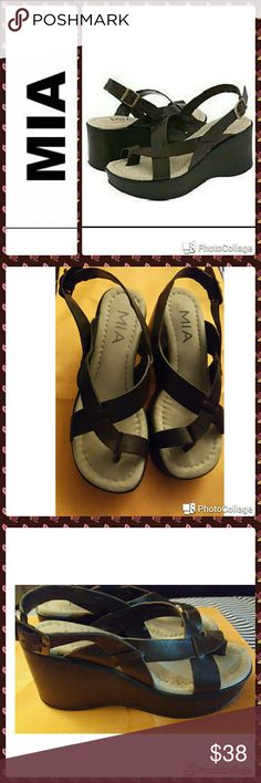 "?? NEW LISTING! MIA In excellent condition.  MIA "" Cassandra"" shoes. Brown leather wedge strap toe sandals. Adjustable buckle back strap. 2.5"" wedge, 1"" platform.  Only worn one time. Comes with original box. MIA Shoes Wedges"