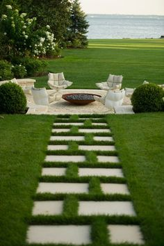 This is beautiful.  The symmetry in the path, the seating design and all waterfront.   Love it.     Janice Parker | Time of delicacy