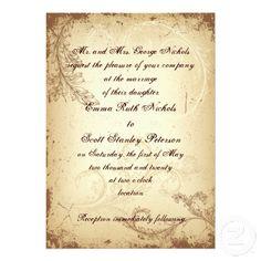 Vintage brown beige scroll leaf wedding invitation
