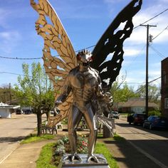 Statue of The Mothman in Point Pleasant, WV.