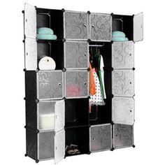 Fabulous Finether Cube Penderie Motif de Fleur Boucl Noir Interverrouillage Storage Modulaire Organisateur Syst me d