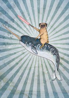 Pug on a Narwhal Art Print