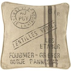 """French Country Farm Stand """"Lentilles Vertes"""" Throw Pillow ($114) ❤ liked on Polyvore featuring home, home decor, throw pillows, pillows, filler, cushions, industrial, green home decor, green throw pillows and green toss pillows"""