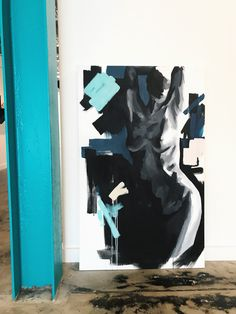 Large figurative painting by Samantha Rueter. High contrast nude paintings to highlight the beauty and power of the female form