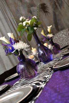 Adult Pajama party (zebra themed)  tablescape