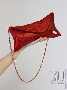 """Купить клатч """"Свиток"""" красный - ярко-красный, однотонный, необычная сумка, авторская сумочка"""