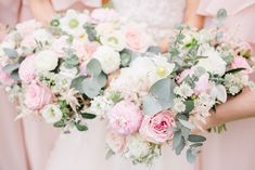 Pastel Wedding Bouquets With Roses And Peonies // Almonry Barn Somerset Wedding With Bridesmaids In Pale Pink Mori Lee Dresses And Bride In BHLDN With Images From Bowtie And Belle Photography Pale Pink Bridesmaids, Pale Pink Weddings, Mori Lee Wedding Dress, Mori Lee Dresses, Indian Wedding Flowers, Flower Crown Wedding, Peony Bouquet Wedding, Bridesmaid Bouquet, Wedding Fair