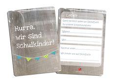 Weiteres - Einladung Einschulung Zwillinge Wimpel 10x - ein Designerstück von millimi bei DaWanda