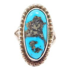 Sterling Southwest Turquoise Estate Ring Pyrite Victorian Jewelry, Antique Jewelry, Estate Rings, Swag, Turquoise, Carnelian, Vintage Rings, Jewelry Watches, Fine Jewelry