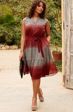 Plus Size Crinkle Chiffon Peasant Dress