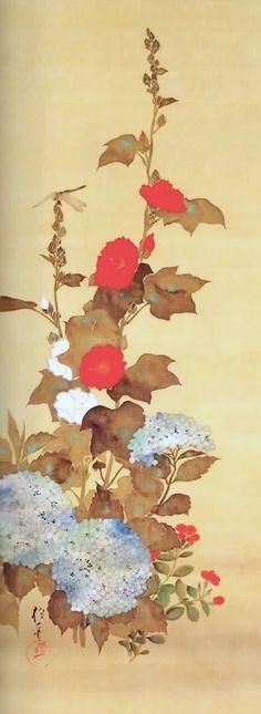 酒井 抱一( 1761年8月1日ー1829年1月4日) hollyhocks and hydrangea. Sakai Hōitsu. Japanese hanging scroll.