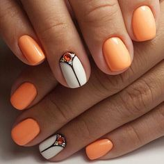 Bright manicure on short nails, Marine nails, Nail designs for short nails, Nails with stones, Orange and white nails, ring finger nails, Short nails 2017, Summer nails 2017