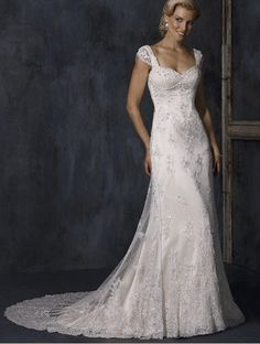 Aline With Cap Sleeves And Embellished Lace Overlay [WG1215] - $301.00 : LuxeBlue Quality Discount Wedding Dresses & Formal Gowns, Worlds leading supplier of affordable fashion for Wedding dresses, Bridal gowns and discount formal wear. Safe & Fast delivery world wide.