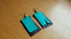 Leather earrings dangle earrings turquoise earrings by BellyPork