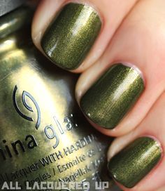 China Glaze Agro (from the Hunger Games collection) - Possibly the only green I've ever really liked.