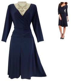 LARGE NWT$90.00 SEXY Womens NAVY BLUE CHAPS FAUX-WRAP DRESS Summer Day/Evening #Chaps #FauxWrap #Versatile