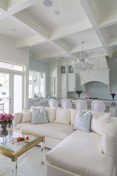Pale blue and white living area