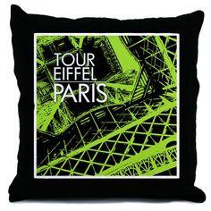 Tour Eiffel Paris (green) throw pillow