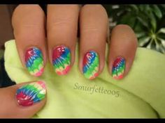 Summer Needle Drag Nail Art Tutorial - Tie Dye neon nails