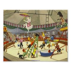 DOG CIRCUS - POSTERS & CANVAS PRINTS - WALL ART