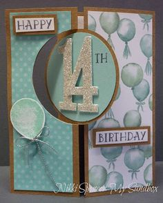handmade birthday card from My Sandbox .. circle flop card ... big number age on one side ... balloons on the other ... panels of coordinating papers ... Stampin' Up!