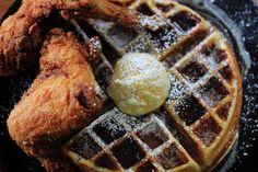 Fried Chicken & Waffles with Bourbon Maple Syrup  OMG...looks sooo good...