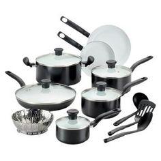 T-fal 16-Piece Ceramic Cookware Set - Black