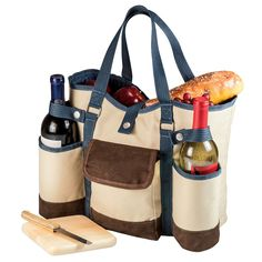 Picnic Time Wine Country Tote - Tan, Beige
