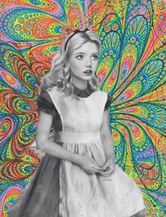 trippy Black and White white weed lsd 420 black high shrooms acid psychedelic trip Alice In Wonderland alice colors colorful pattern wonderland floral fractals