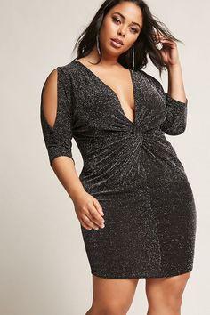 FOREVER 21+ Plus Size Metallic Twist-Front Dress
