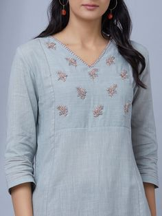 The Loom- An online Shop for Exclusive Handcrafted products comprising of Apparel, Sarees, Jewelry, Footwears & Home decor. Silk Kurti Designs, Simple Kurta Designs, Salwar Neck Designs, Neck Designs For Suits, Kurta Neck Design, Dress Neck Designs, Kurta Designs Women, Blouse Designs, Embroidery On Kurtis