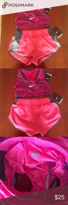 Pink and grey dri fit Nike shorts  Brand new with tags. I can bundle. The sports bra is also size extra small. It is listed separately in my closet. The shorts are size xs. Dri fit. Nike Shorts