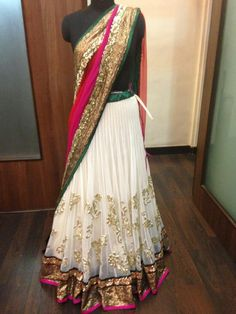 Pretty pink green white combo love the fabric on the skirt Indian Look, Indian Ethnic Wear, Indian Dresses, Indian Outfits, Desi Clothes, Indian Clothes, Indian Bridal Wear, Textiles, Indian Couture