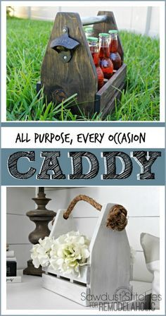 Build a versatile wooden caddy, great for so many purposes! Gift it as a drink holder or a planter or use it around the house to organize craft supplies or utensils for your BBQ.