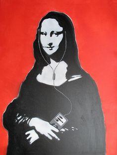 Mona l-i-pod  - stencil art - Kriebel by _Kriebel_, via Flickr