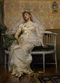 After the Receiption by American Douglas Volk. oil on canvas. The painting of an exhausted bride resting after her reception.