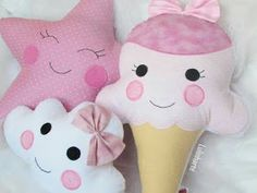 star cloud and ice cream cone pillow pattern ? Baby Crafts, Felt Crafts, Fabric Crafts, Sewing Crafts, Kids Crafts, Diy And Crafts, Sewing Projects, Sewing Diy, Cute Pillows