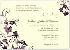 Signature Ecru Wedding Invitations Vibrant Vineyard - Front : Deep Plum