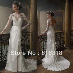 Vestidos De Noiva Free Shipping Sexy Open Back Vintage Lace Long Sleeve Wedding Dress Chiffon Long Sleeve Vestido De Casamento $175.00