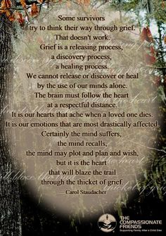 I have found this to be absolutely true.... You can't try to have your mind try to assist you with the grieving process... The heart and your emotions are separate all together and will play out its own effects separately.