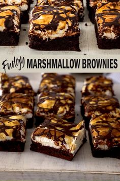 Dense, rich chocolate brownies covered in a soft and chewy easy marshmallow topping, these fudgy Marshmallow Brownies are not only easy but also fun and totally addictive. Vegan No Bake Chocolate Brownie Energy Bites S'mores Brownies Marshmallow Brownies, Chocolate Brownies, Chocolate Cupcakes, Chocolate Chocolate, Chocolate Covered, Smores Brownies, Chocolate Biscuit Cake, Chocolate Videos, Salted Caramel Brownies
