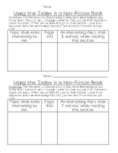 Students will practice using the index in a non-fiction book to search for areas of interest before reading. After doing a minilesson on using the ...