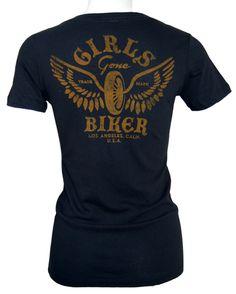Girls Gone Biker   Women's Motorcycle T-shirt - Winged Wheel $32.50
